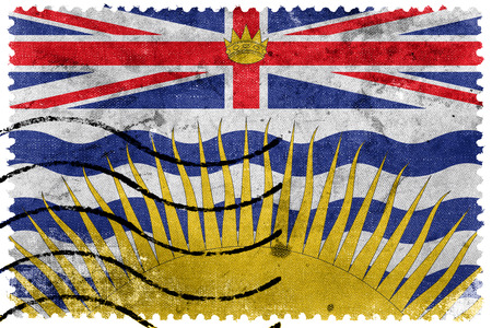 canada stamp: Flag of British Columbia Province, Canada, old postage stamp Stock Photo