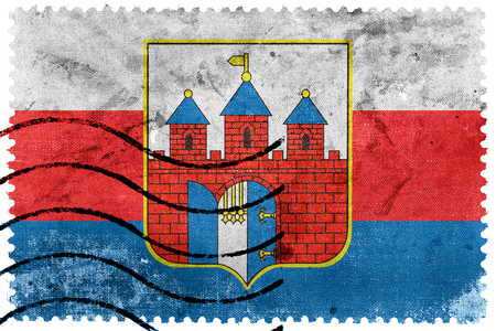 sello postal: Flag of Bydgoszcz, Poland, old postage stamp
