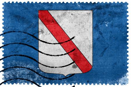 sello postal: Flag of Campania, Italy, old postage stamp