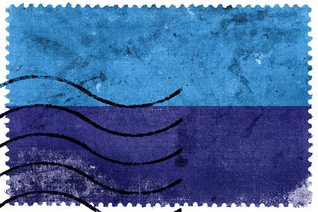 sello postal: Flag of Duran, Ecuador, old postage stamp Foto de archivo