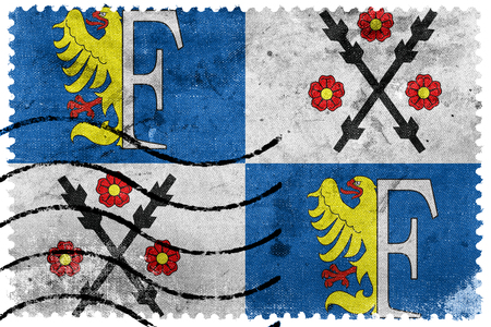 Flag of Frydek-Mistek, Czechia, old postage stamp Stock Photo