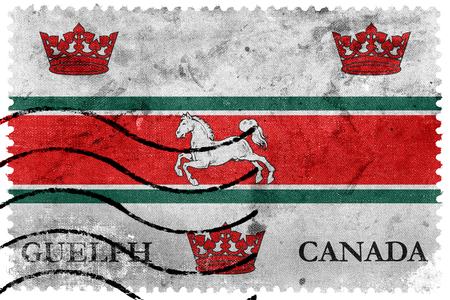 canada stamp: Flag of Guelph, Canada, old postage stamp