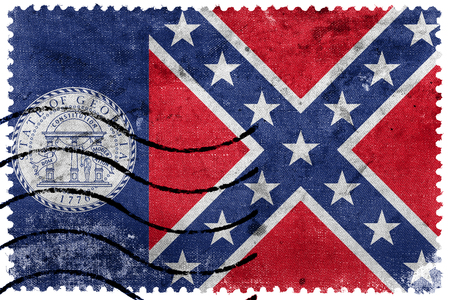 postage stamp: Flag of Georgia State (1956-2001), USA, old postage stamp