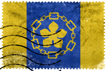 canada stamp: Flag of Hamilton, Canada, old postage stamp
