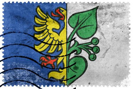 sello postal: Flag of Karvina, Czechia, old postage stamp