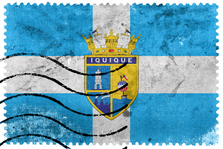 chilean: Flag of Iquique, Chile, old postage stamp