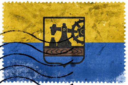 postage stamp: Bandera de Katowice, Polonia, antiguo sello de correos Foto de archivo
