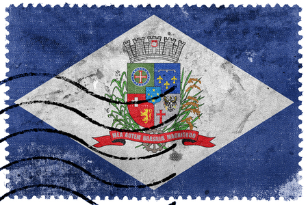 Flag of Joinville, Santa Catarina State, Brazil, old postage stamp Stock Photo