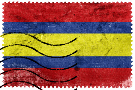 loja: Flag of Loja, capital of Loja Province, Ecuador, old postage stamp Stock Photo