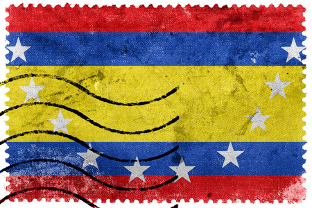 loja: Flag of Loja Province, Ecuador, old postage stamp Stock Photo