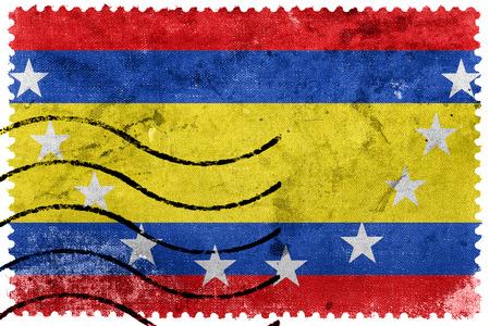 Flag of Loja Province, Ecuador, old postage stamp Stock Photo