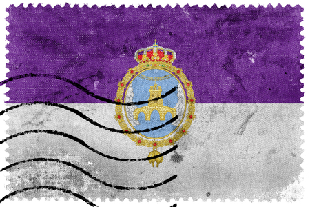 loja: Flag of Loja, Spain, old postage stamp Stock Photo