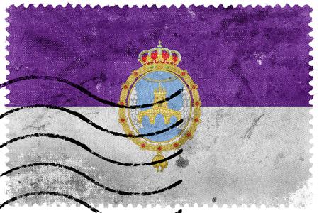Flag of Loja, Spain, old postage stamp Stock Photo