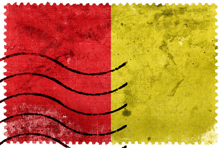 Flag of Liege, Belgium, old postage stamp