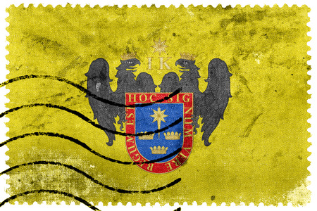 lima province: Flag of Lima, Peru, old postage stamp Stock Photo