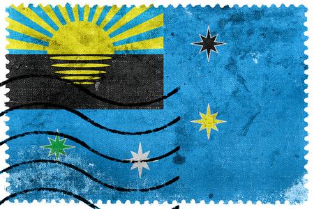 sello postal: Flag of Makiivka, Ukraine, old postage stamp Foto de archivo