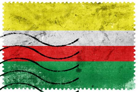 Flag of Lubusz Voivodeship, Poland, old postage stamp