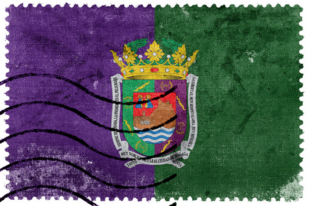 Flag of Malaga, Spain, old postage stamp Stock Photo