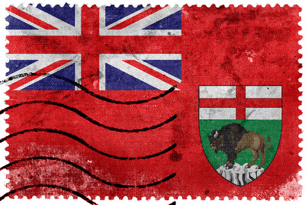Flag of Manitoba Province, Canada, old postage stamp Stock Photo