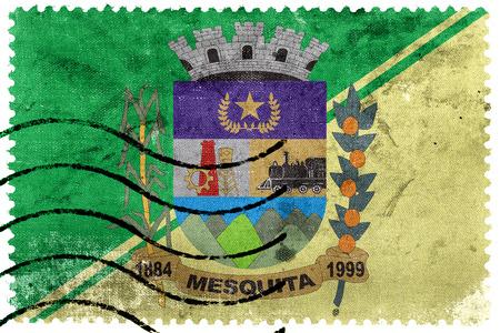 Flag of Mesquita, Rio de Janeiro, Brazil, old postage stamp Imagens