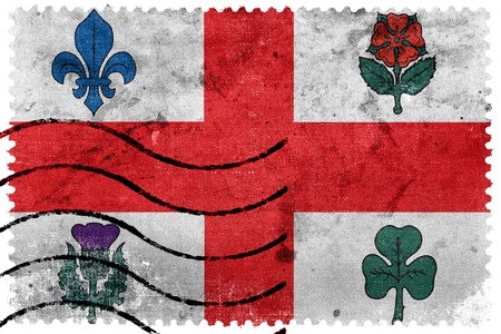 canada stamp: Flag of Montreal, Canada, old postage stamp