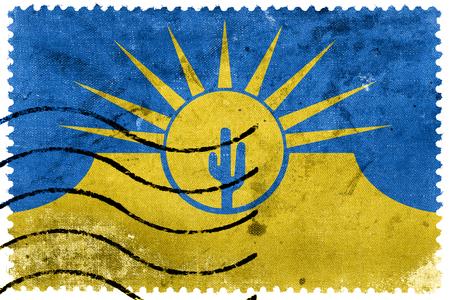 Flag of Mesa, Arizona, USA, old postage stamp