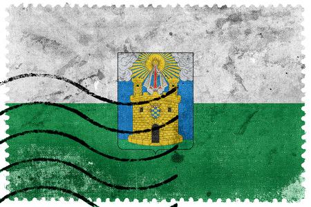 sello postal: Flag of Medellin, Colombia, old postage stamp Foto de archivo