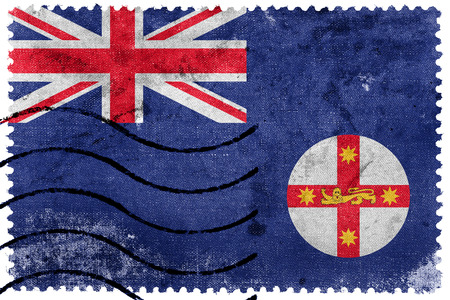 new south wales: Flag of New South Wales State, Australia, old postage stamp