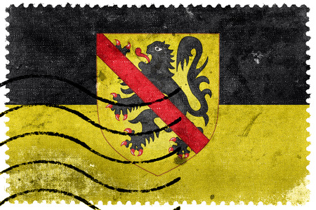 Flag of Namur with Coat of Arms, Wallonia Region, Belgium, old postage stamp