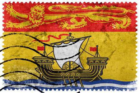 canada stamp: Flag of New Brunswick Province, Canada, old postage stamp
