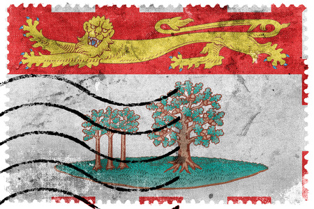 canada stamp: Flag of Prince Edward Island Province, Canada, old postage stamp