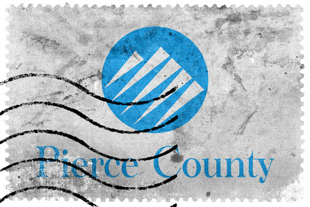 pierce: Flag of Pierce County, Washington, USA, old postage stamp Stock Photo