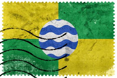 postage stamp: Flag of Nairobi, Kenya, old postage stamp Stock Photo