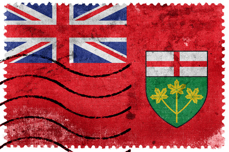 Flag of Ontario Province, Canada, old postage stamp