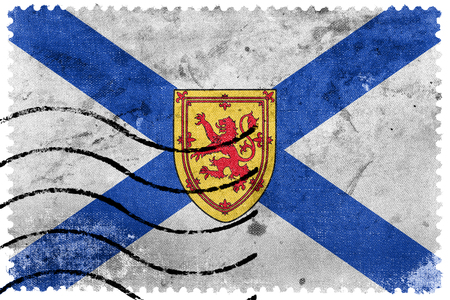 Flag of Nova Scotia Province, Canada, old postage stamp