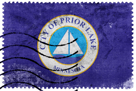 prior lake: Flag of Prior Lake, Minnesota, USA, old postage stamp