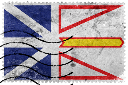 canada stamp: Flag of Newfoundland and Labrador Province, Canada, old postage stamp Stock Photo