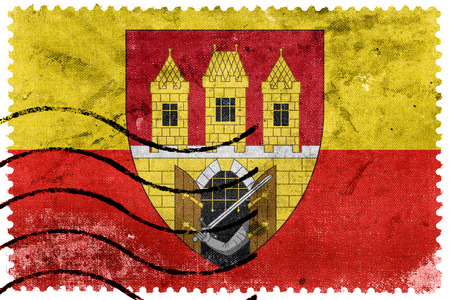 escutcheon: Flag of Prague with Coat of Arms (Escutcheon only), Czechia, old postage stamp