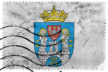 postage stamp: Flag of Poznan, Poland, old postage stamp