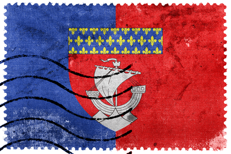 escutcheon: Flag of Paris with Coat of Arms (Escutcheon only), France, old postage stamp