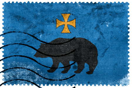 bandera de polonia: Flag of Przemysl, Poland, old postage stamp Foto de archivo