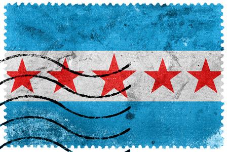 postage stamp: Flag of Sapucaia, Brazil, old postage stamp Stock Photo