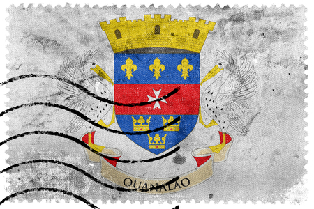 postage stamp: Flag of Saint - Barthelemy, old postage stamp