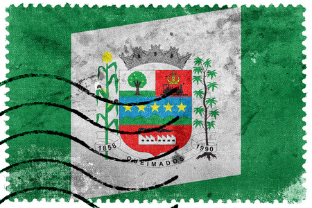 postage stamp: Flag of Queimados, Brazil, old postage stamp