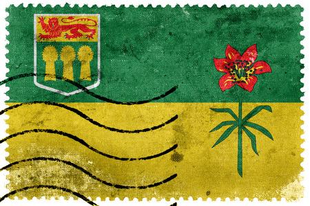 saskatchewan flag: Flag of Saskatchewan Province, Canada, old postage stamp
