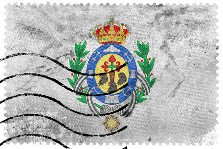 santa cruz de tenerife: Flag of Santa Cruz de Tenerife, Spain, old postage stamp Stock Photo