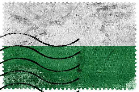 saxony: Flag of Saxony, Germany, old postage stamp