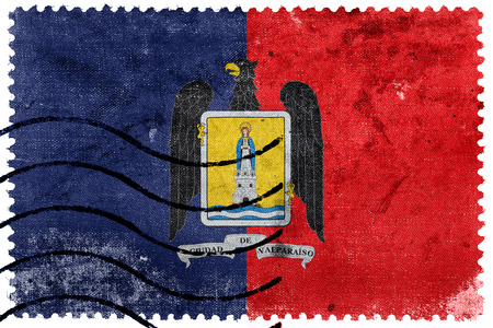 bandera chilena: Bandera de Valparaiso, Chile, antiguo sello de correos