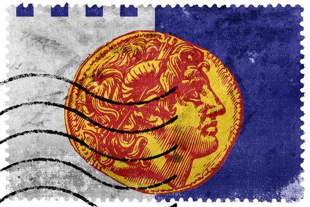 postage stamp: Flag of Thessaloniki, Greece, old postage stamp