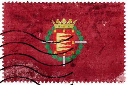 postage stamp: Flag of Valladolid, Spain, old postage stamp
